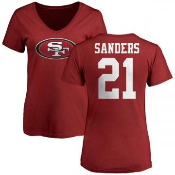 Women's Deion Sanders San Francisco 49ers Name & Number Logo Slim Fit T-Shirt - Red