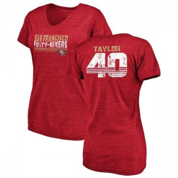 Women's Jamar Taylor San Francisco 49ers Retro Tri-Blend V-Neck T-Shirt - Red