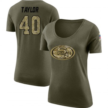 Women's Jamar Taylor San Francisco 49ers Salute to Service Olive Legend Scoop Neck T-Shirt
