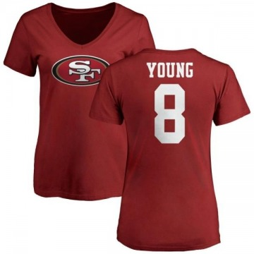 Women's Steve Young San Francisco 49ers Name & Number Logo Slim Fit T-Shirt - Red