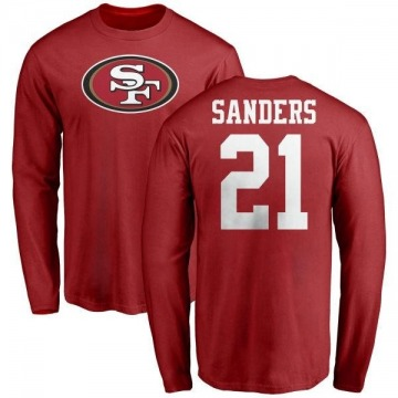 Youth Deion Sanders San Francisco 49ers Name & Number Logo Long Sleeve T-Shirt - Red