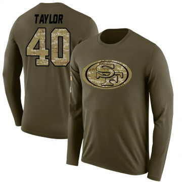 Youth Jamar Taylor San Francisco 49ers Salute to Service Sideline Olive Legend Long Sleeve T-Shirt